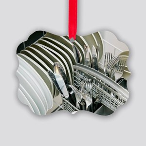 Clean utensils in a dishwasher Picture Ornament