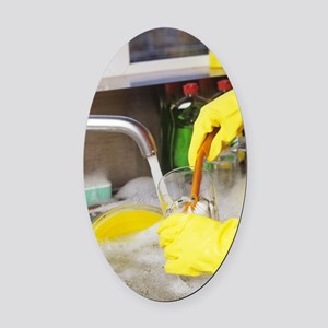 Cleaning the dishes Oval Car Magnet