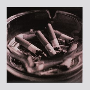 Close-up of cigarette butts and ash i Tile Coaster