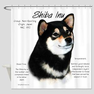 Shiba Inu (blk/tan) Shower Curtain