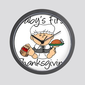 Baby Girl First Thanksgiving Wall Clock