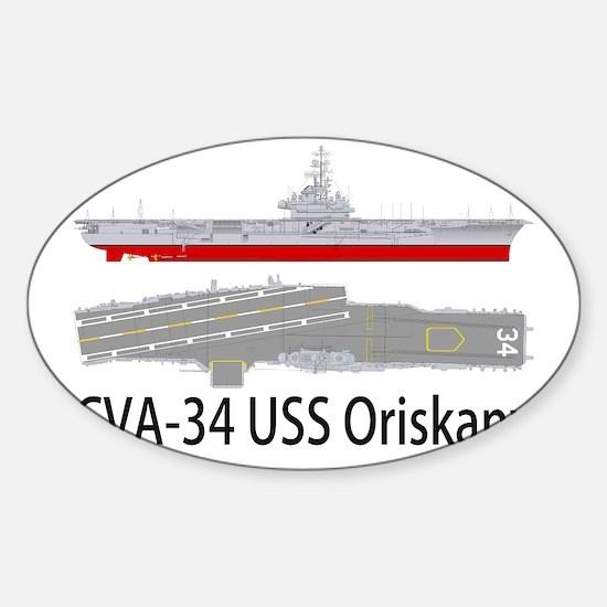 USS Oriskany CVA-34 Sticker (Oval)