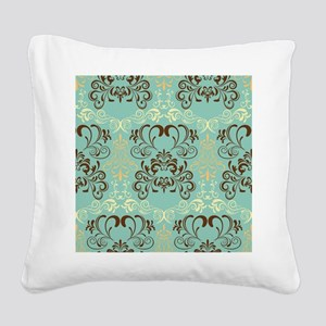 Teal Floral Square Canvas Pillow