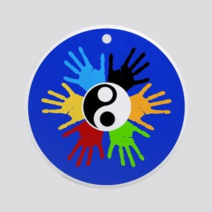 Hand Prints Ying Yang Colorful Round Ornament