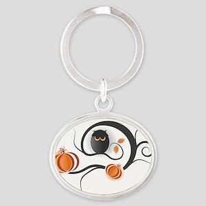 Whimsical Halloween Oval Keychain