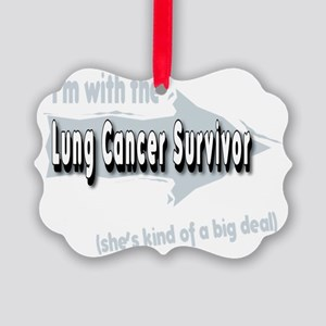 With female Lung Cancer Survivor  Picture Ornament