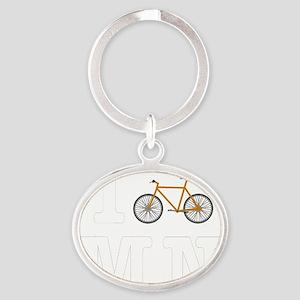 I Bike MN Orange Oval Keychain