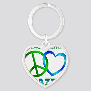 Peace Love Jazz Heart Keychain