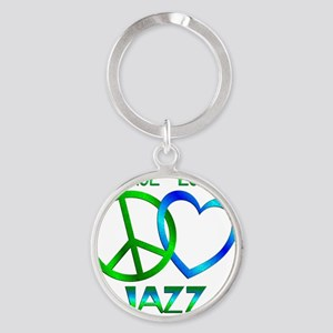 Peace Love Jazz Round Keychain