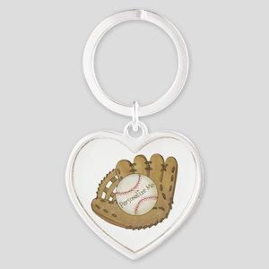 Custom Baseball Heart Keychain