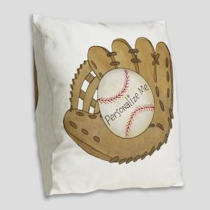 Custom Baseball Burlap Throw Pillow