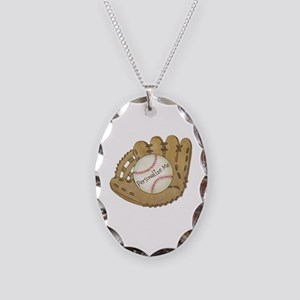 Custom Baseball Necklace Oval Charm