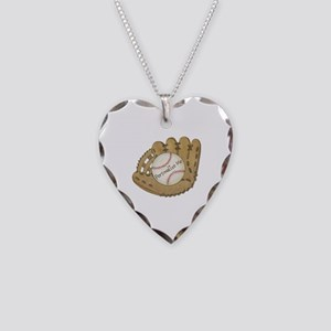 Custom Baseball Necklace Heart Charm
