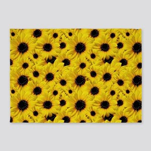 Brown Eyed Susan Daisy Flowers 5'x7'Area Rug