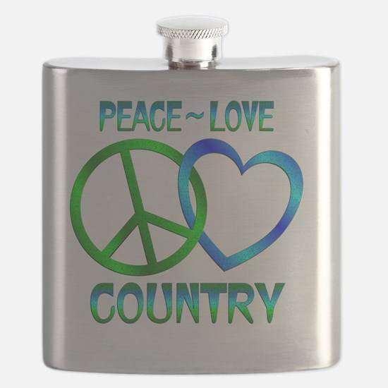 Peace Love Country Flask