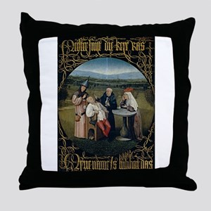 Cutting the Stone - Bosch - c1495 Throw Pillow