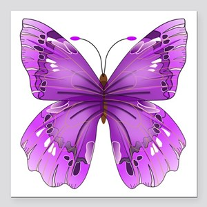 """Awareness Butterfly Square Car Magnet 3"""" x 3"""""""