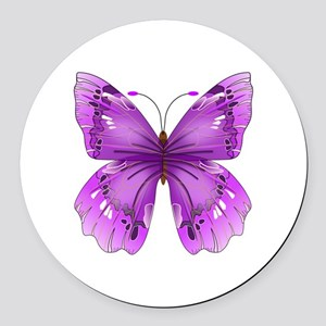 Awareness Butterfly Round Car Magnet