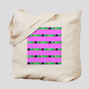 Pink Green Irish 4 Leaf Clovers St. Pats Tote Bag