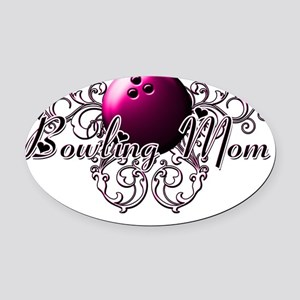 Bowling Mom (pink ball) Oval Car Magnet