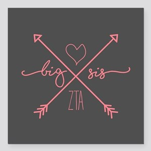 "Zeta Tau Alpha Big Sis A Square Car Magnet 3"" x 3"""