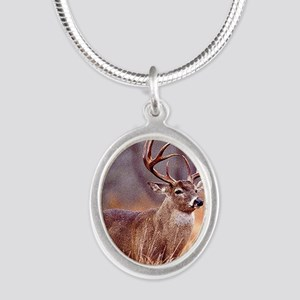 Wildlife Deer Buck Silver Oval Necklace