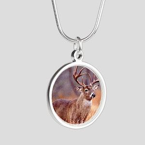 Wildlife Deer Buck Silver Round Necklace