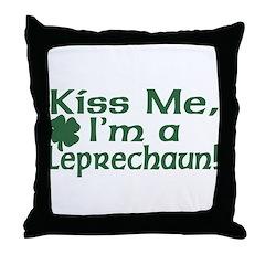 Kiss Me I'm a Leprechaun Throw Pillow