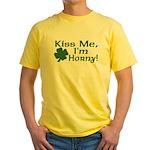 Kiss Me I'm Horny Yellow T-Shirt