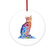 Whimsical Elegant Cat Ornament (Round)