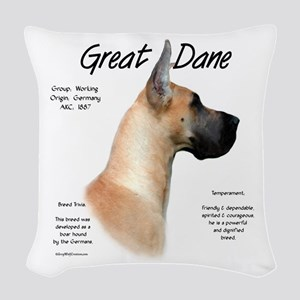 Great Dane (fawn) Woven Throw Pillow