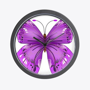 Awareness Butterfly Wall Clock