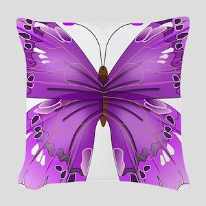 Awareness Butterfly Woven Throw Pillow