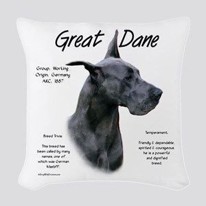Great Dane (blue) Woven Throw Pillow