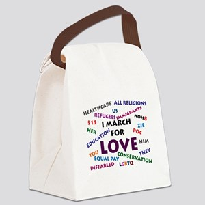 I March for Love Canvas Lunch Bag