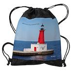 Menominee North Pierhead Light Drawstring Bag