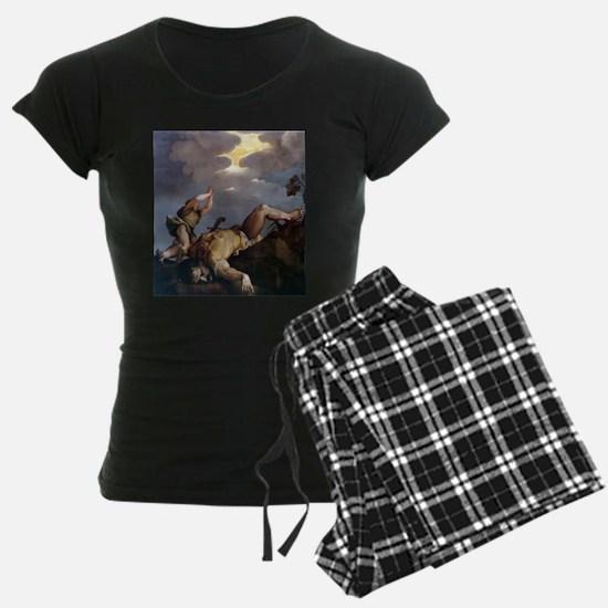 David and Goliath - Titian - c1542 Pajamas
