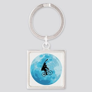 Cycling-in-Moonlight Square Keychain