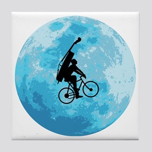 Cycling-in-Moonlight Tile Coaster