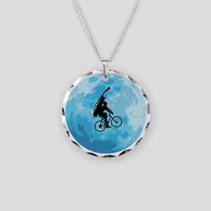 Cycling-in-Moonlight Necklace Circle Charm