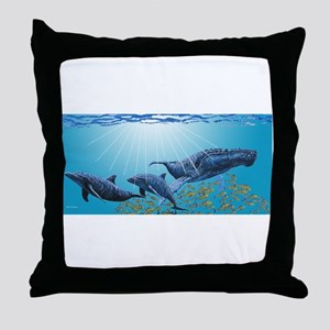 Humpback Whale & Dolphins Throw Pillow