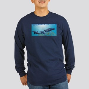 Humpback Whale & Dolphins Long Sleeve Dark T-Shirt