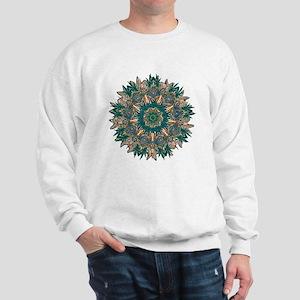 CANNABIS LEAF II TEAL/ORNG Sweatshirt