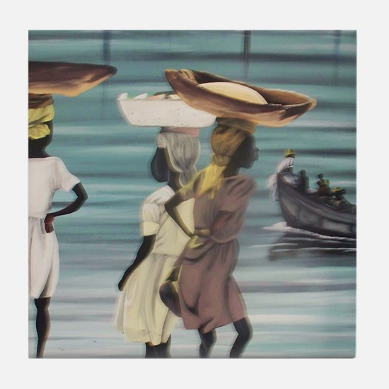 Girls Selling by the Shore Tile Coaster
