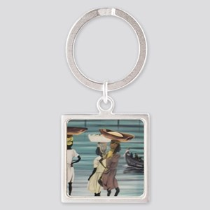 Girls Selling by the Shore Square Keychain