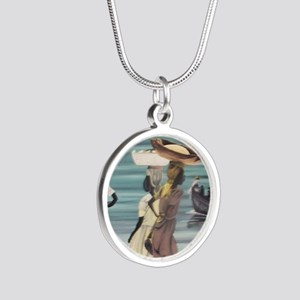 Girls Selling by the Shore Silver Round Necklace