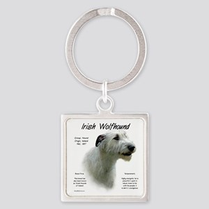 Irish Wolfhound (white) Square Keychain