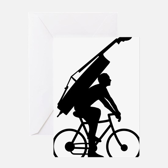 Double-Bass-On-Bicycle-01-a Greeting Card