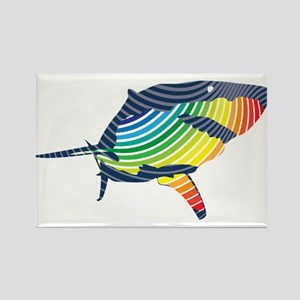 great white rainbow shark Magnets