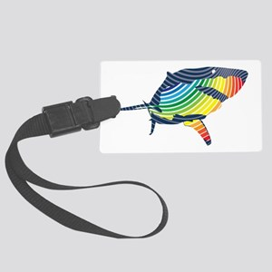 great white rainbow shark Luggage Tag